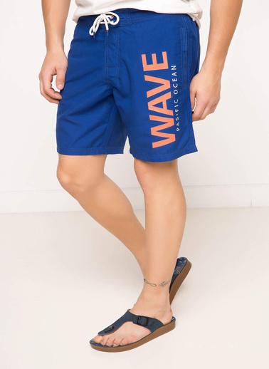 DeFacto Yazı Baskılı Yüzme Şortu Mavi